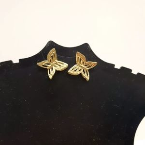 Butterfly costume jewellery earrings gold plated